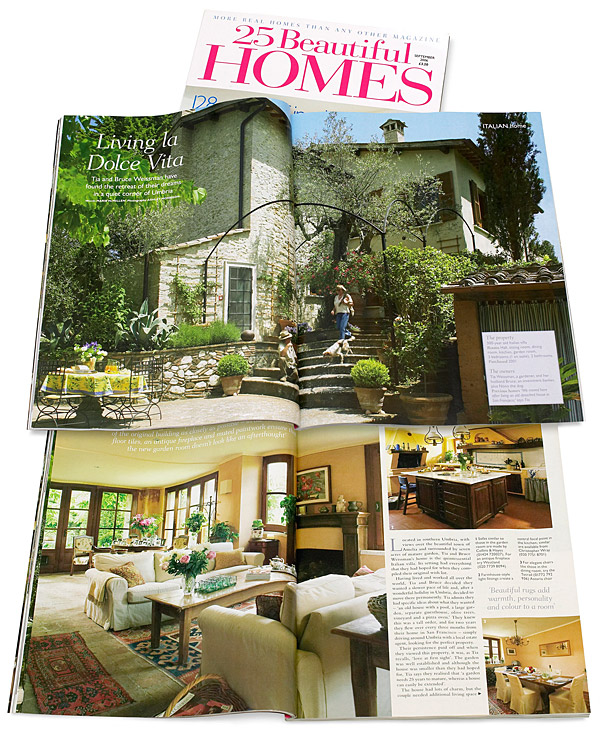 Page 20 to 25 in the September 2006 issue of 25 Beautiful Homes magazine featuring Tia and Bruce Weissman's Italian villa Casa Lara located near Amelia in Umbria.