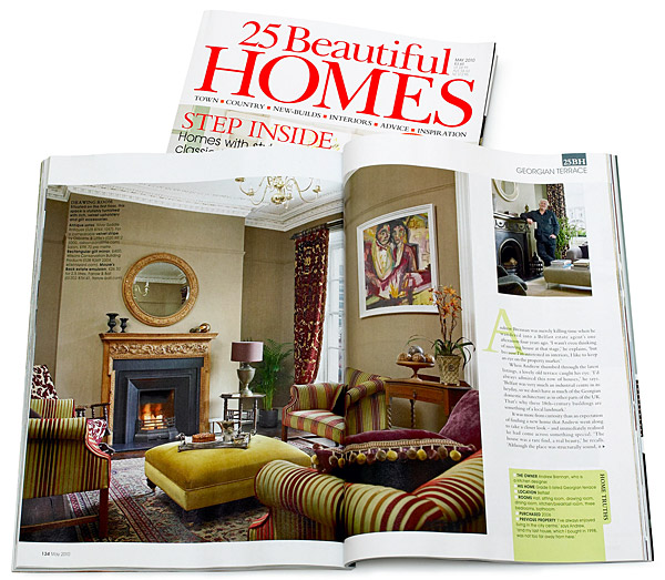 Pages 134 to 138 in the May 2010 issue of 25 Beautiful Homes magazine featuring Andrew Brennan and Simon Croal's Grade II-listed Georgian townhouse in Belfast.