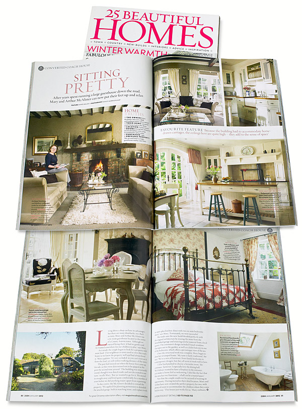 Pages 78 and 81 in the January 2012 issue of 25 Beautiful Homes magazine featuring Mary and Arthur McAllister's converted coach house near Portstewart in County Antrim.