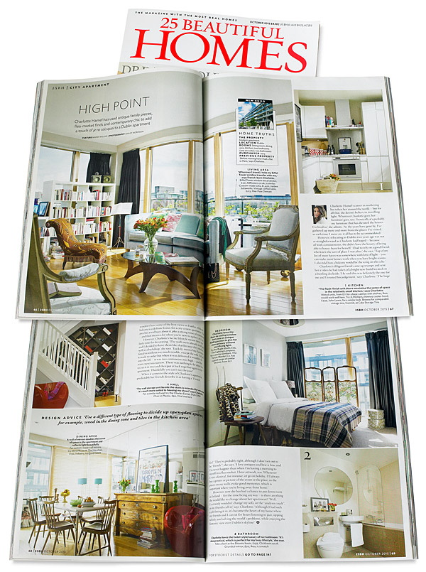 Pages 66 to 69 in the October 2015 issue of 25 Beautiful Homes magazine - featuring Charlotte Hamel's modern apartment in Dublin's stylish docklands area.