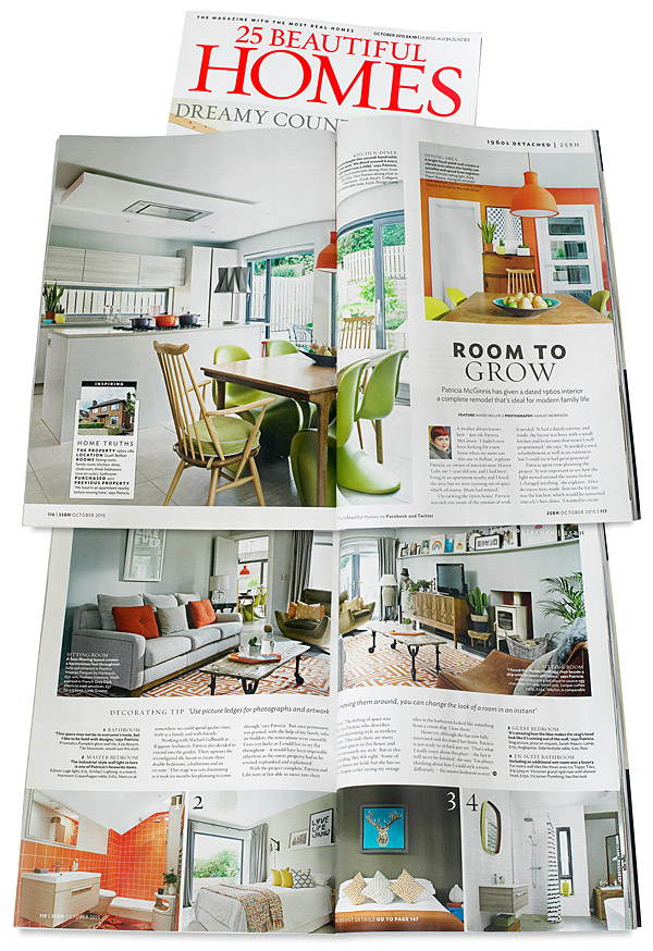 Pages 116 to 119 in the October 2015 issue of 25 Beautiful Homes magazine - featuring Patricia McGinnis' detached 1960s family home in Belfast.