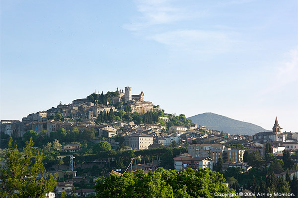 The town of Amelia sitting on a hill in the south western corner of Umbria in Italy.
