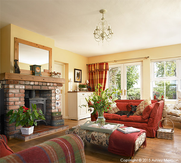 The living room in Lesley Anderson's cottage style bungalow near Portaferry in County Down.