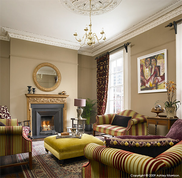 The sitting room in Andrew Brennan and Simon Croal's Grade II-listed Georgian townhouse in Belfast.