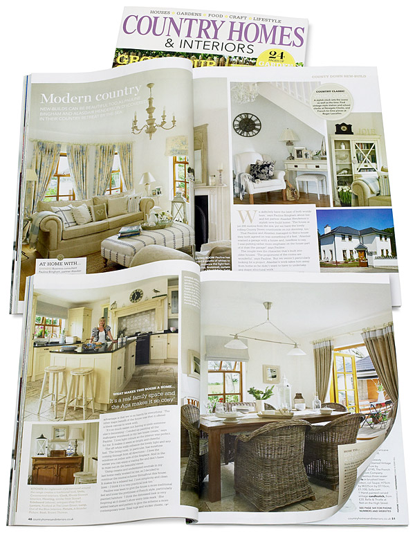 Pages 46 to 51 of the June 2011 issue of Country Homes & Interiors magazine featuring Pauline Bingham and Alasdair Henderson's stylish new-build house near the sea-side village of Groomsport in County Down.