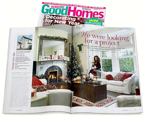 Pages 62 to 67 in the January 2011 issue of GoodHomes magazine featuring Amanda and Keith McGuile's semi-detached Victorian house in east Belfast at Christmas time.