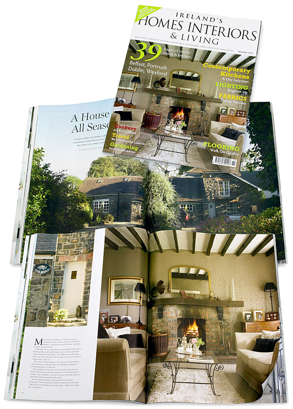 The cover plus pages 64 to 76 in the November 2012 issue of Ireland's Homes Interiors & Living magazine featuring Mary and Arthur McAllister's converted coach house near Portstewart in County Antrim.