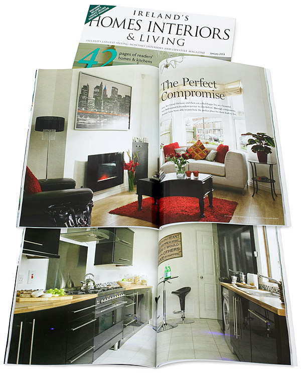 Pages 80 to 91 in the January 2014 issue of Ireland's Homes Interiors & Living magazine featuring Janice and Billy Shannon's Edwardian mid terrace in Belfast.