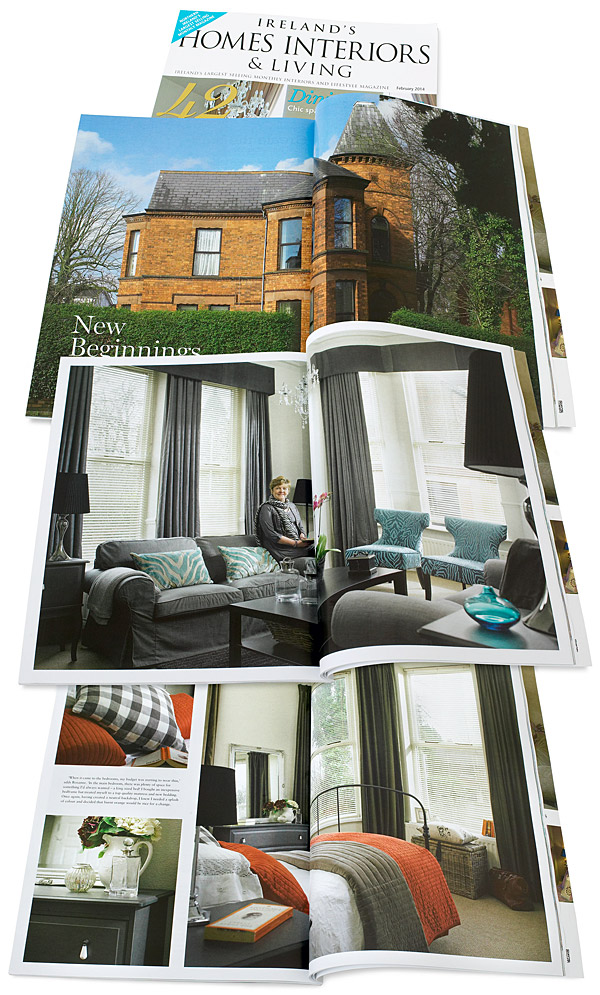 Pages 96 to 106 in the February 2014 issue of Ireland's Homes Interiors & Living magazine featuring Rosanne Irwin's ground floor apartment in the Malone area of Belfast.