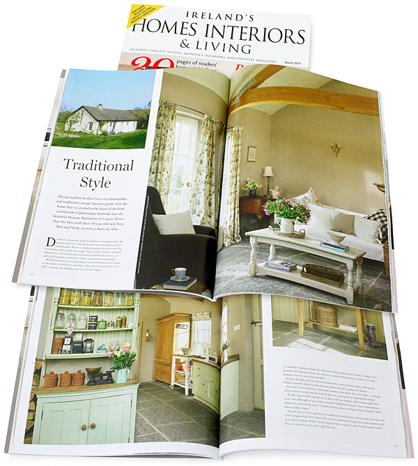 Pages 82 to 92 in the March 2014 issue of Ireland's Homes Interiors & Living magazine featuring Davina and Ian Callen's cottage near Seaforde in County Down.