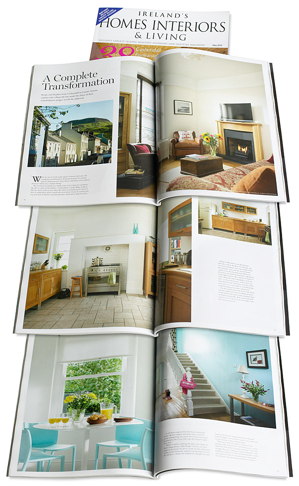 Pages 78 to 87 in the May 2014 issue of Ireland's Homes Interiors & Living magazine featuring Briege and Stephen Conway's Victorian townhouse in the County Antrim coastal town of Cushendall.