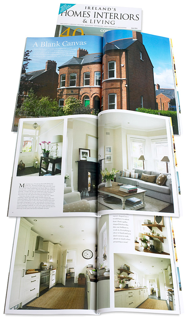 Pages 80 to 91 in the June 2014 issue of Ireland's Homes Interiors & Living magazine featuring Ciara Nelson's three storey semi-detached villa in Belfast.