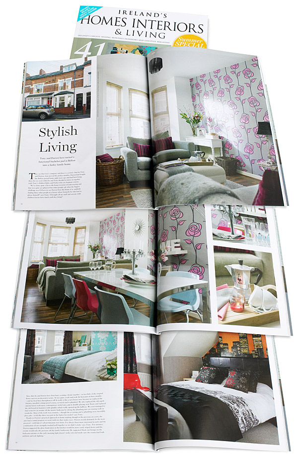 Pages 76 to 85 of the July 2014 issue of Ireland's Homes Interiors & Living magazine featuring Tony Day and Darren Baird's Edwardian terrace in east Belfast.