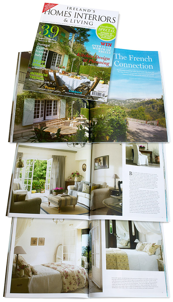 The cover plus pages 72 to 83 of the August 2014 issue of Ireland's Homes Interiors & Living magazine featuring Janet and Ken Hamilton's villa called 'Jasmin' near the French Riviera village of St Paul de Vence.