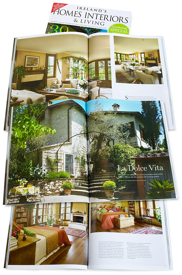 La Dolce Vita - Pages 58 to 71 of the August 2014 issue of Ireland's Homes Interiors & Living magazine featuring Tia and Bruce Weissman's Italian villa located near Amelia in Umbria.