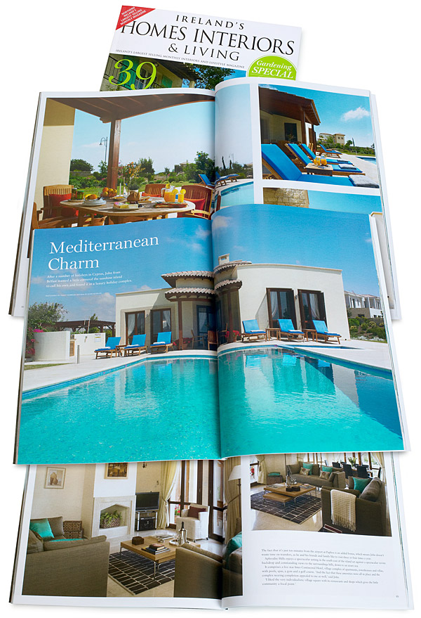 Mediterranean Charm - Pages 82 to 94 of the August 2014 issue of Ireland's Homes Interiors & Living magazine featuring John O'Callaghan's villa called 'Villa Thalia' at Aphrodite Hills near Paphos in Cyprus.