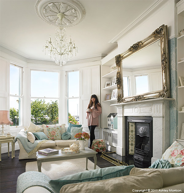 Amanda McGuile in the sitting room of her Victorian terrace which overlooks Bangor Marina in County Down.