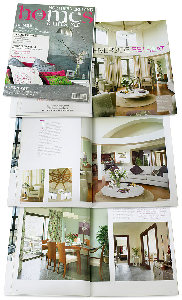 The cover plus pages 58 to 66 in the November 2007 issue of Northern Ireland Homes & Lifestyle magazine featuring Jane McKenna's penthouse appartment in south Belfast on the banks of the river Lagan.