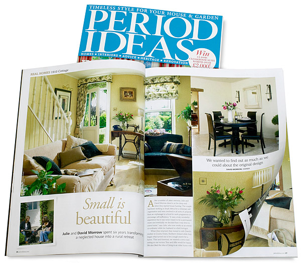 Pages 24 to 29 in the April 2012 issue of Period Ideas magazine featuring Julie and David Morrow's two-bedroom terraced cottage near Comber in County Down.