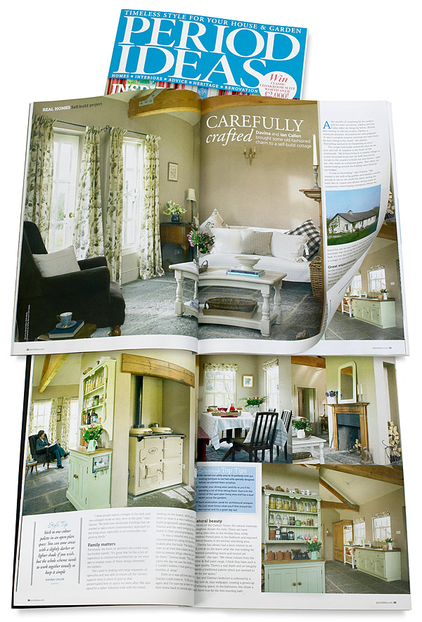 Pages 32 to 39 in the April 2012 issue of Period Ideas magazine featuring Davina and Ian Callen's cottage near Seaforde in County Down.