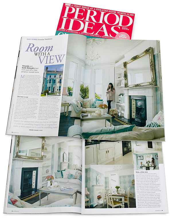 Pages 26 to 32 in the March 2013 issue of Period Ideas magazine featuring Amanda and Keith McGuile's Victorian terrace overlooking Bangor Marina in County Down.