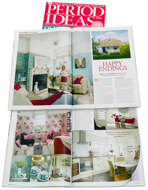 Pages 54 to 60 in the March 2013 issue of Period Ideas magazine featuring Patricia and Paul Abbott's detached cottage in the County Down town of Bangor.