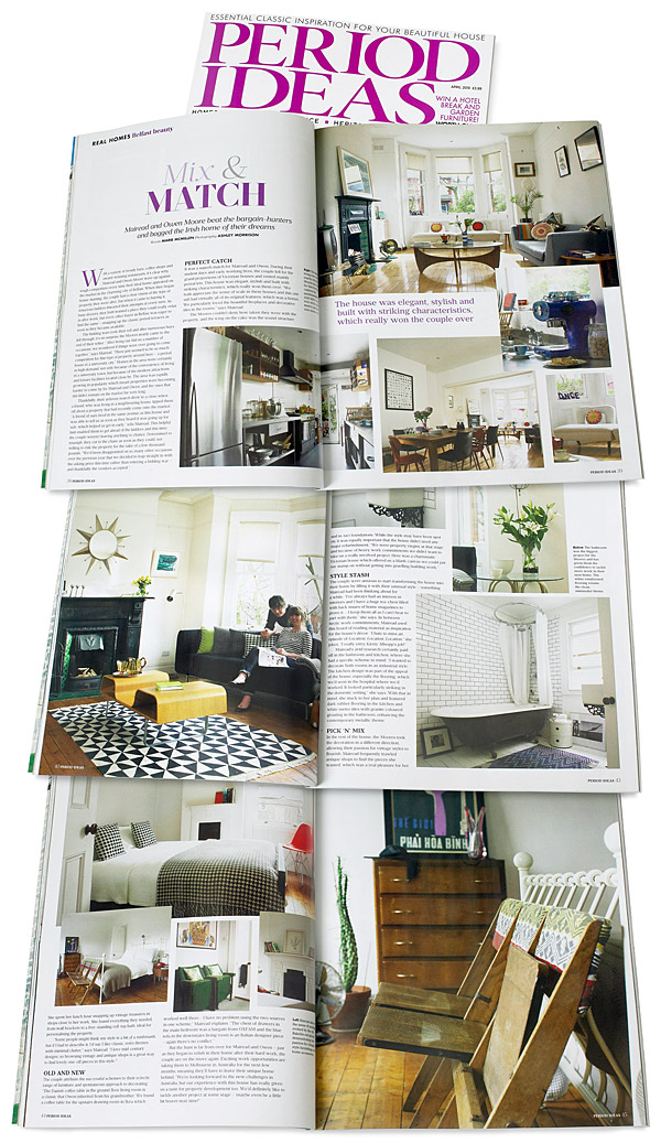 Pages 38 to 45 in the April 2015 issue of Period Ideas magazine featuring Mairead and OwenMcIntyre's Victorian terrace in the university area of Belfast.