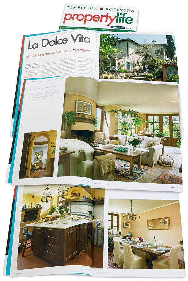 Pages 8 to 19 in issue 12 of Templeton Robinson's Property Life magazine featuring Tia and Bruce Weissman's Italian villa Casa Lara located near Amelia in Umbria.