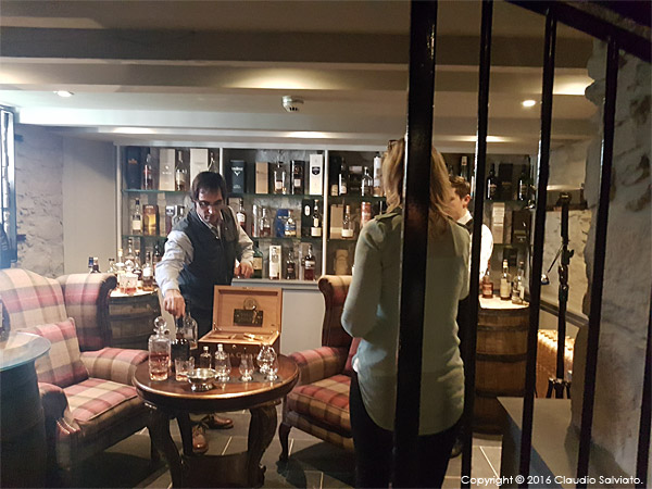 Setting up the Whisky room shot at the Trump International Golf Hotel near Aberdeen in Scotland.