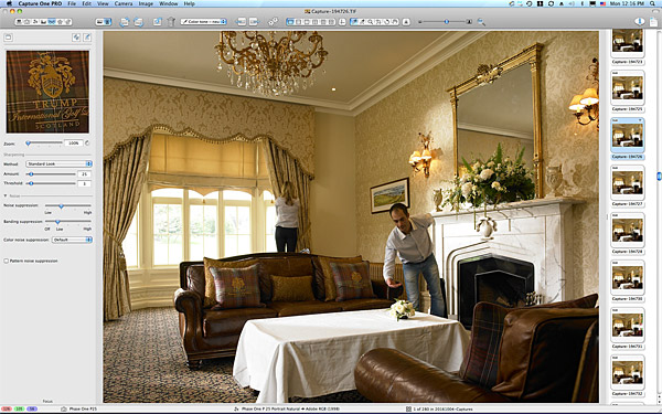 Setting up the shot of the South Snug sitting room area at the Trump International Golf Hotel near Aberdeen in Scotland.