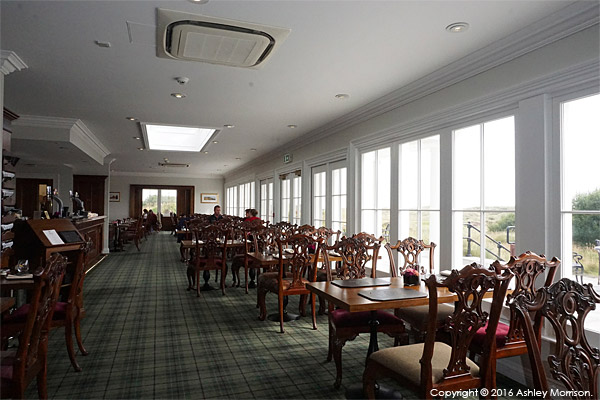Recce shot of the restaurant in the Clubhouse at the Trump International Golf Links Hotel near Aberdeen in Scotland.