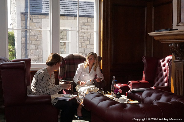 Kate & Dianne having a bit to eat in the Clubhouse at the Trump International Golf Links Hotel near Aberdeen in Scotland.