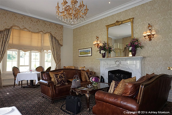 Sitting room area at the Trump International Golf Hotel near Aberdeen in Scotland.