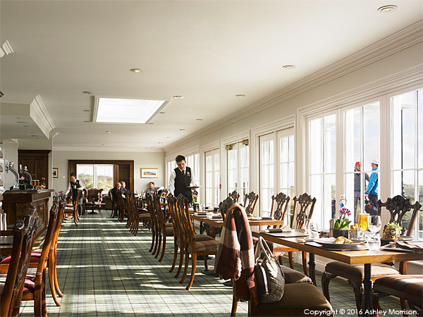 The restaurant in the Clubhouse at the Trump International Golf Links Hotel near Aberdeen in Scotland.