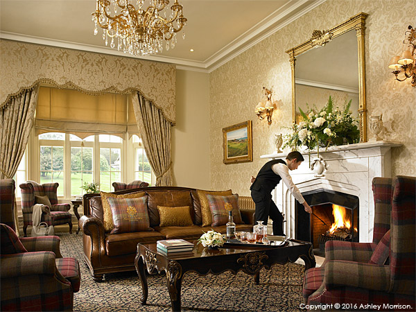 The South Snug sitting room area at the Trump International Golf Hotel near Aberdeen in Scotland.