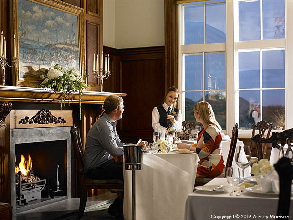Private dining shot in the Clubhouse at the Trump International Golf Links Hotel near Aberdeen in Scotland.