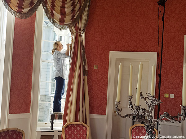 Behind the scenes during the shoot of the Pantheon Suite at the K Club in County Kildare