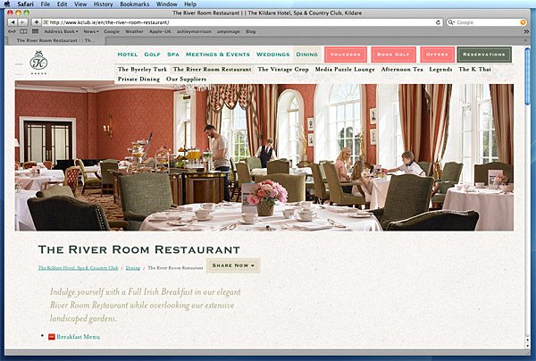 The River Room Restaurant page on the K Club's website.