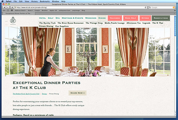 Screen shot of the Pantheon Suite on the K Club's website.