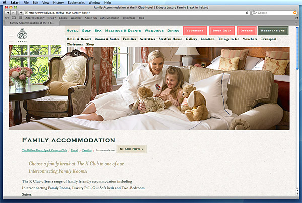 Screen shot showing Family Accommodation on The K Club's website.