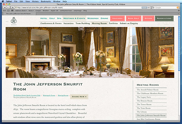 Screen shot of the John Jefferson Smurfit Room on The K Club's website.