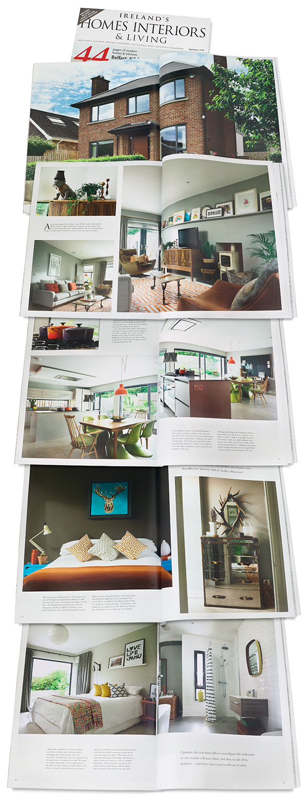 Pages 92 to 105 in the September 2018 issue of Ireland's Homes Interiors and Living magazine featuring Patricia McGinnis' detached 1960s house in Belfast.