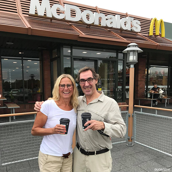 With Christina outside McDonald's at Sprucefield Shopping Centre, which is where we meet before I drove them all into Belfast and around the north of Ireland over the next few days.