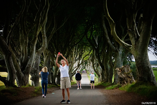Christina with her husband, Bjorn Hörbäck, her sister, Annis Andersson Josefson, and her husband, Philip Josefson, at the Dark Hedges which has been used as a location in HBO's popular television series Game of Thrones.