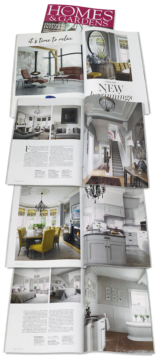 Pages 107 to 113 in the January 2019 issue of Homes & Gardens magazine featuring Jacqui and Peter Kirk's Victorian rectory in the County Down town of Bangor.