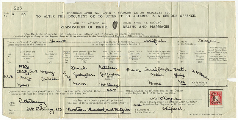 Mary Isabella Gallagher's Registration of Birth.